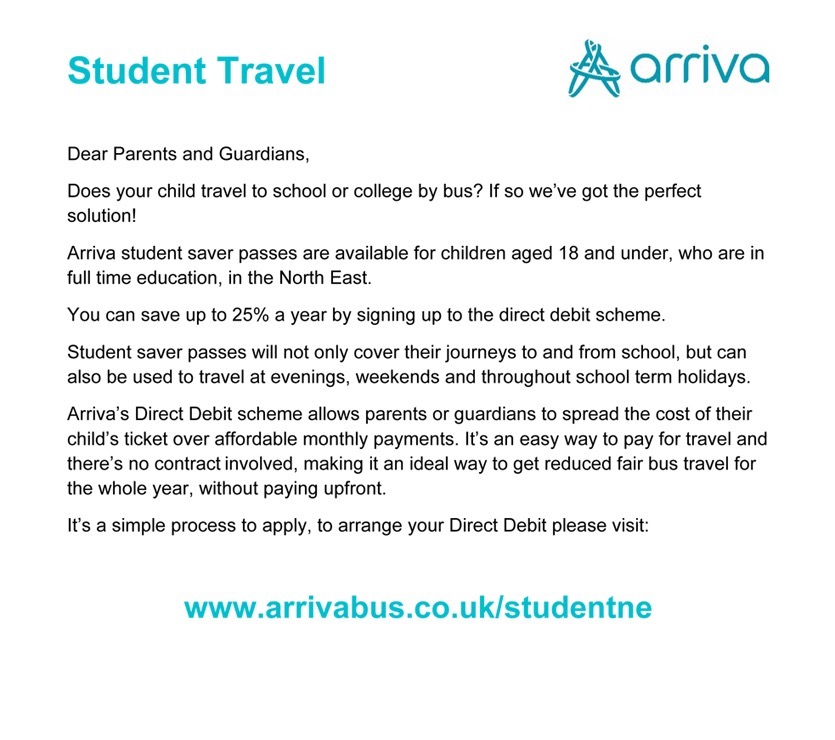 Image for Arriva North East Student saver passes